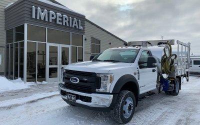 2019 Ford F-550 4x2 Diesel 700 Sidewinder, 8' Aluminum Water Flatbed Portable Restroom Service Truck